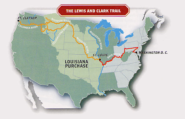 Map of the Lewis and Clark Trail