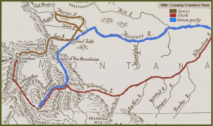 1806 Exploration Routes of Lewis and Clark – Lewis And Clark Travel Map