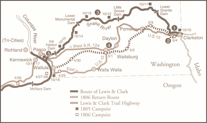 Lewis and Clark traveling through Washington October 11 15 – Lewis And Clark Travel Map